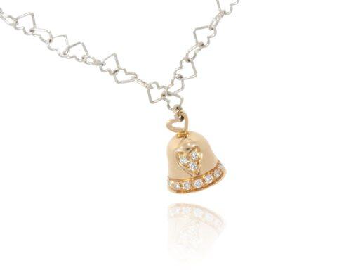 Glockenanhänger mit Diamanten und Herzkette
