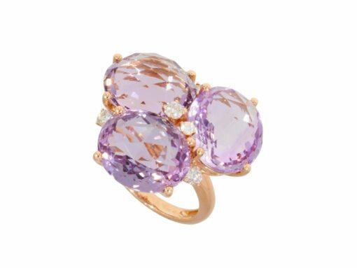 Amethyst ring in 750f rose gold