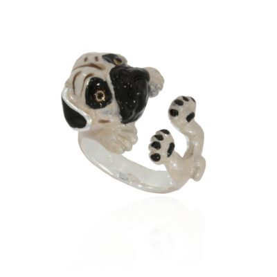 Sterling silver ring pug