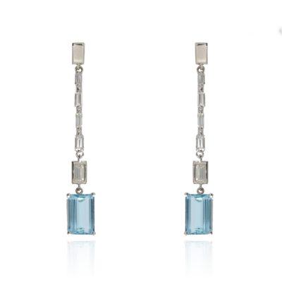 Aquamarin und Diamant Ohrgehänge