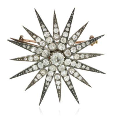 Antiker Diamantsternbrosche mittel