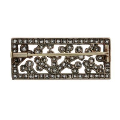 Antike rechteckige Diamantbrosche Rückseite