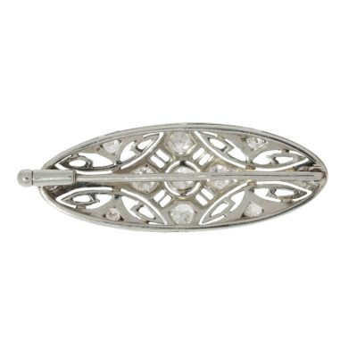 Oval art deco brooch backside