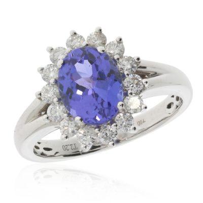 Tansanitring mit Diamantenkarmoisierung