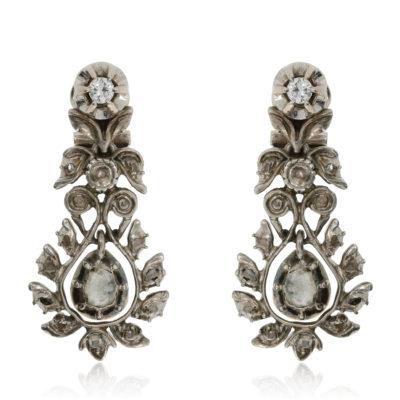 Antike Diamantohrringe mit Diamantrosen