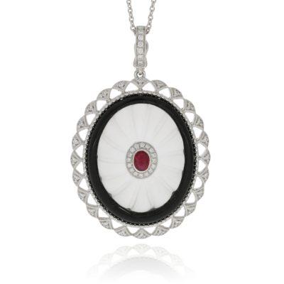 Rubin Diamant Anhänger mit Onyx und Bergkristall