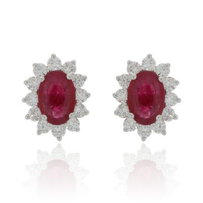 Ruby and diamond halo earrings