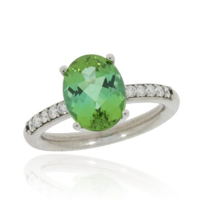 Turmalinring oval grün