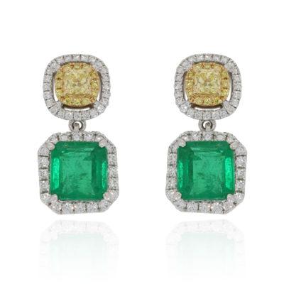 Smaragdohrringe mit gelben Diamanten